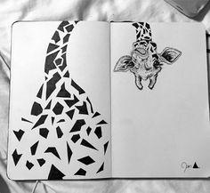 beautiful giraffe in my moleskine .- beautiful giraffe in my moleskine Kunstjournal Inspiration, Bullet Journal Inspiration, Pencil Art Drawings, Art Drawings Sketches, Sharpie Drawings, Sharpie Doodles, Flower Drawings, Sharpie Art, Cool Art Drawings