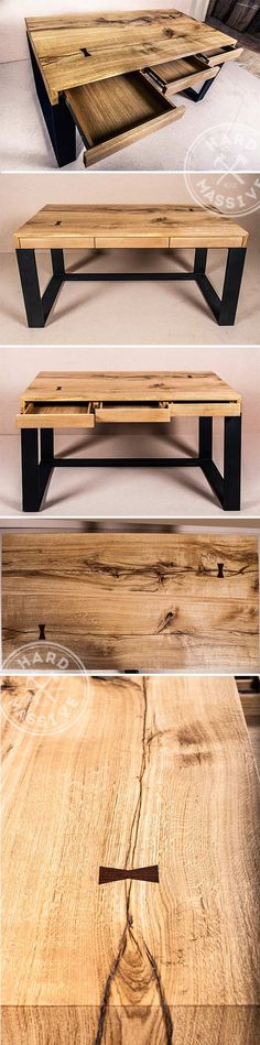 The table in the Loft style for the office. Table with 3 drawers made of solid Oak and Walnut. The base - metal. Covering the table - natural oil and wax | Стол в стиле Лофт для рабочего кабинета. Стол из массива Дуба и Ореха. Основание - металл. Покрытие стола - натуральное масло и воск. #lofttable #tableoffice #tablewithdrawers