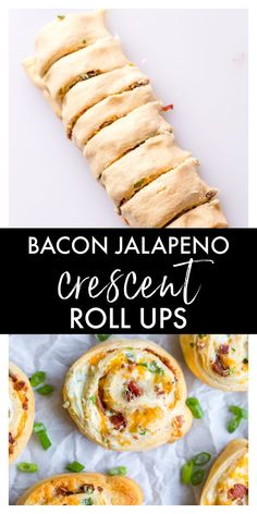 These Bacon Jalapeno Crescent Roll Ups are an easy appetizer or dinner recipe that are always a crowd favorite. They are made with canned crescent dough, bacon, cream cheese, garlic powder, green onions, chopped jalapenos, and shredded cheddar cheese. Jalapeno Recipes, Bacon Recipes, Spicy Recipes, Appetizer Recipes, Crescent Dough Sheet Recipes, Crescent Roll Recipes, Crescent Rolls, Bacon Roll, Stuffed Jalapenos With Bacon