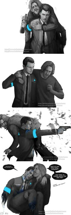 Three times Connor carried Hank and one time, Hank carried him back. || Hank & Connor || Detroit become human || Cr: BrilCrist