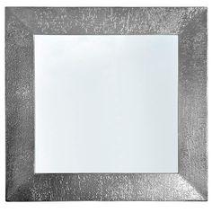 Specchiera cm.96x96 profilo legno verniciato argento liquido