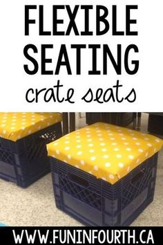 Discover how to make plastic milk crates into a flexible seating option in your elementary classroom with this easy DIY tutorial. Classroom Desk, Classroom Organization, Future Classroom, Classroom Management, Music Classroom, Organization Ideas, Classroom Hacks, Milk Crate Seats, Plastic Milk Crates
