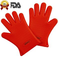 Chefaith Silicone Oven Mitts, Pot Holder for Cooking, Baking, Barbeque (BBQ), Cooking 5-Finger Protective Kitchen Gloves, Non-Slip Food Grade Silicone for Perfect Grip, Ultra Durable [Red] #kitchen #gadgets @bestbuy9432