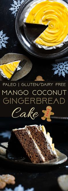 Gluten Free Mango Gingerbread Cake with Coconut Cream - This spicy-sweet, show stopping gluten free gingerbread cake is studded with juicy, fresh mangoes to create a healthy, paleo-friendly, festive dessert for the Holidays! | Foodfaithfitness.com | @FoodFaithFit | mango cake. healthy gingerbread. gluten free christmas desserts. healthy Christmas desserts. mango recipes. gluten free cake. Paleo cake.