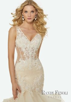 Randy Fenoli Bridal, Charlize Wedding Dress | Style 3423. Crystal Beaded, Floral Appliqués and Lace on a V-Neck, Illusion Bodice with Horsehair Edged, Flounced Tulle and Organza Mermaid. Open V Back. Cathedral Ruffle Train.