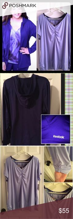 Reebok PlayDry Zip Jacket Hoodie/Workout Tee 22/24 Matching Reebok PlayDry JACKET & TOP - BOTH NWT size 22/24. PlayDry is a Poly/Spandex blend for a relaxed fit, helps wick moisture away - it's a very slick material. 💜 Dark Purple Hoodie Zip Track Jacket. Reflective Reebok name by left pocket. Color is a little darker than the cover shot. 💜 Lavender workout tee. Reflective Reebok name on the back. Even though it is NWT, it does have a couple of flaws as shown in the fourth photo. A small…