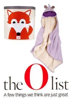 Our fox bin and hippo towel were both featured on the O list!