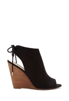 Faux Suede Peep Toe Wedges