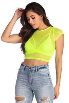 Shop Windsor's women's tops in sweaters, long sleeve tops, blouses, off the shoulder tops & t-shirts. Neon Rave Outfits, Swag Outfits, Cute Outfits, Neon Yellow Tops, Neon Top, Powerpuff Girls Costume, Neon Dresses, Trendy Tops, Festival Outfits
