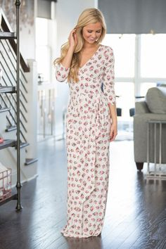 Walking Under The Cherry Blossoms Maxi Dress Ivory - The Pink Lily