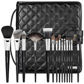 A 14-piece brush set housed in a sleek quilted pouch that transforms into a standing easel.   Embrace your artistic inspirations with this versatile set of brushes capable of creating entire looks, from start to finish. The deluxe bristles effortlessly pick up product and flawlessly blend with ease. The professional case doubles as a standing easel, increasing visibility and accessibility to your brushes during application. This set contains: - PRO Flawless Powder Brush