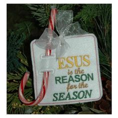 """Jesus is the Reason for the Season"" Christmas Ornament.  Definitely making more of these for church craft bazaar from the Embroidery Garden!"
