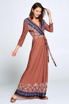 A great versatile piece, this rust colored paisley and floral maxi dress has a faux wrap silhouette with self-tie at the waist, sleeves, ruffle detail at the hem, and comes in a super comfortable jersey style fabric that never wrinkles. Maxi Wrap Dress, Floral Maxi Dress, Kurti With Jacket, Rust Color, Paisley, Bohemian, Sleeves, Fabric, Jackets