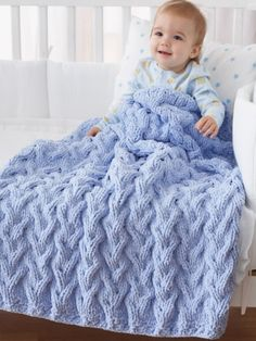 *Shadow Cable Baby Blanket | Yarn | Free Knitting Patterns | Crochet Patterns | Yarnspirations