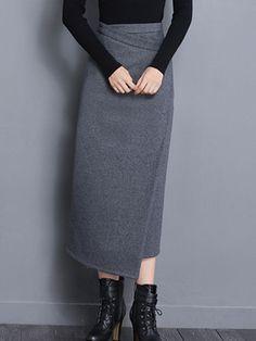Gray Pencil Skirt Irregular High Waist Long Skirt For Women