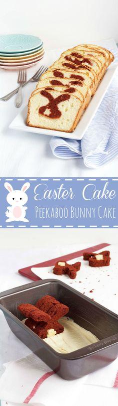 Make this Simple Easter Cake - A Peekaboo Pound Cake with a Bunny Inside www.thebearfootbaker.com