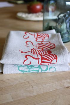Kitchen Tea Towels Set of 4 Handmade and Hand by thehighfiberco, 44.00