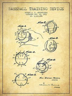 Baseball Patent Poster featuring the drawing Baseball Training Device Patent…