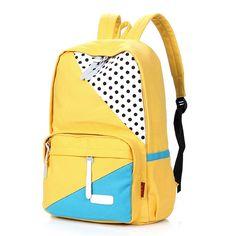 FASHION PLAZA Stylish Backpack - Bolso mochila de Lona para mujer M, color Amarillo, talla M: Amazon.es: Equipaje