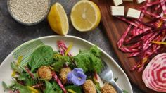 Locally made halloumi paired with the humble beetroot and some sesame seeds makes for an exotic spring salad Cheese Tasting, Spring Salad, Halloumi, Salad Ingredients, Cereal Bowls, Beetroot, Serving Platters, Seeds, Food And Drink