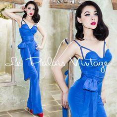 Le-Palais-Vintage-Elegant-Blue-Quilting-Corset-Jumpsuit-Designed-by-Winny