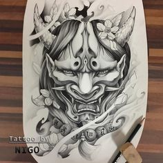 japanese tattoos meaning Oni Tattoo, Hanya Tattoo, Demon Tattoo, Tattoo Arm, Tattoo Flash, Japanese Mask Tattoo, Japanese Tattoo Designs, Japanese Sleeve Tattoos, Japanese Design
