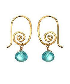 Calico Juno Spiral Apatite Earrings Each earring measures 5/8 inch long.   Metal: 14k gold fill $42