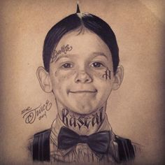 Awesome artwork by Sir Twice #InkedMagazine #art #Alfalfa #Darla #LittleRascals #Rascal #tattooedart