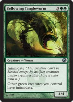 Bellowing-Tanglewurm-x4-Magic-the-Gathering-4x-Scars-of-Mirrodin-mtg-card-lot