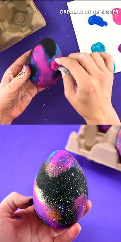 These galaxy Easter eggs are easy to make and look out of this world. Get a great step-by-step photo tutorial AND a video tutorial to make your own! for teenagers videos Galaxy Easter Eggs Tutorial Arts And Crafts For Teens, Art And Craft Videos, Crafts For Boys, Egg Crafts, Easter Crafts, Bunny Crafts, Easter Decor, Easter Ideas, Galaxy Easter Eggs