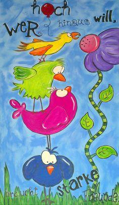 Wer hoch hinaus will braucht starke Freunde. von Lexiart - Kunterbuntes mit viel Herz auf DaWanda.com