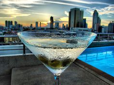 Martini with a skyline view.  I love rooftop bars.
