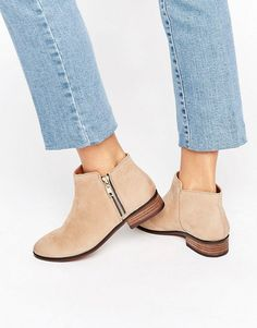 ALDO | ALDO Julianne Taupe Zip Flat Leather Ankle Boots