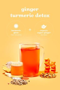 Our latest Signature Beverage is a sweet and spicy elixir that'll keep you feeling glowy inside and out. Get a cup of Ginger Turmeric Detox in-store until January or make yours at home! Non Alcoholic Drinks, Cocktail Drinks, Beverages, Cocktails, Turmeric Detox, Tea Illustration, Davids Tea, Bubble Tea, Sweet And Spicy