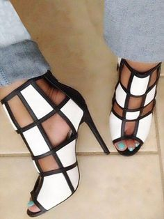 Color Block Peep Toe Caged High-heel Sandals