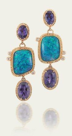 Tamsen Z by Ann Ziff - Tanzanite & Black Opal Earrings