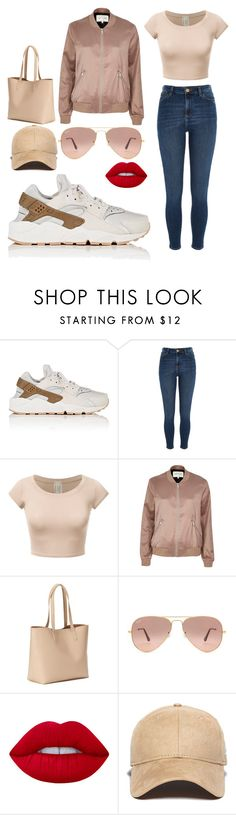 """""""Untitled #539"""" by sena12kan ❤ liked on Polyvore featuring NIKE, River Island, Old Navy, Ray-Ban, Lime Crime and New Era"""