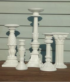 Five Large White Ornate Upcycled Candlesticks by Erindee on Etsy, $60.00