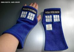 TARDIS 10 Fleece Mittens/Arm Warmers Fingerless Gloves by creativeartshop, €25.00