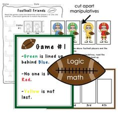 Football logic math problems included in the Football math center pack.