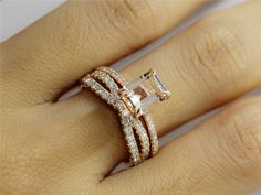 Hey, I found this really awesome Etsy listing at https://www.etsy.com/listing/202506331/matching-ring-set-emerald-cut-morganite