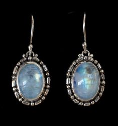Balinese Rainbow Moonstone Earrings handcrafted in Sterling Silver by Bluemoonstone Creations. #moonstoneearrings #moonstonejewelry #sterlingsilverearrings #gemtstoneearrings #bluemoonstonecreations Moonstone Earrings, Sterling Silver Earrings, Rainbow Moonstone, Mystic Moon, Natural Gemstones, Balinese, Moonstones, Jewels, Intuition