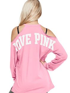 Cold Shoulder Long Sleeve Campus Tee