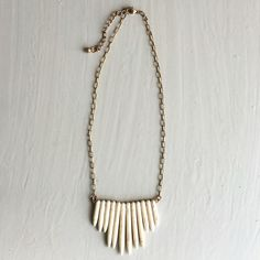 Handmade bohemic tribal pendant Off white handmade tribal Bohemic spiked pendant necklace. Size is above the chest. (Last picture is to give you idea of the length)  •Same day shipping •Bundle and save!  •Pet & Smoke free Home! •Please check my closet for cute accessories I n s t a g r a m : @ h a v e i t . w e a r i t . l o v e i t HWL boutique Jewelry Necklaces