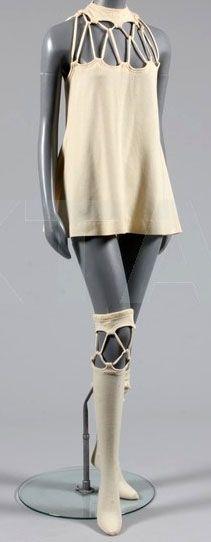 Rudi Gernreich - Robe Mini et Chaussettes Haute - Jersey Ivoire - 1969