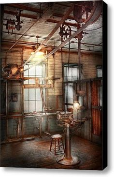 Steampunk - Machinist - The Grinding Station by Mike Savad with Pin-It-Button on FineArtAmerica Estilo Country, Machine Tools, Machine Age, Modern Shop, Blacksmithing, Wood Print, Metal Working, Workshop, Design Inspiration