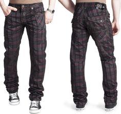 Kosmo Lupo KM 327 Jeans Chino Skinny Karo Glanz Hose Herren DJ Clubwear W28-W36