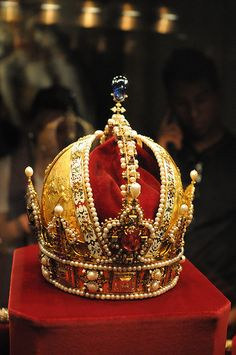 The crown of the Austrian Empire, in the imperial treasury at the Hofburg Palace, Vienna.