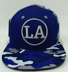 1d217a13192 LOS ANGELES City Snapback Cap Hat LA California OSFM Adjustable Blue Camo  NWT  fashion