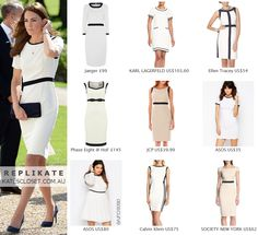 Click to shop repliKates of the Jaeger Contrast Crepe Dress